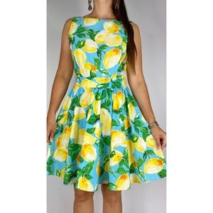 RED HERRING Blue Yellow Lemon Print Retro Fit & Flare Dress Plus Size AU 14-16